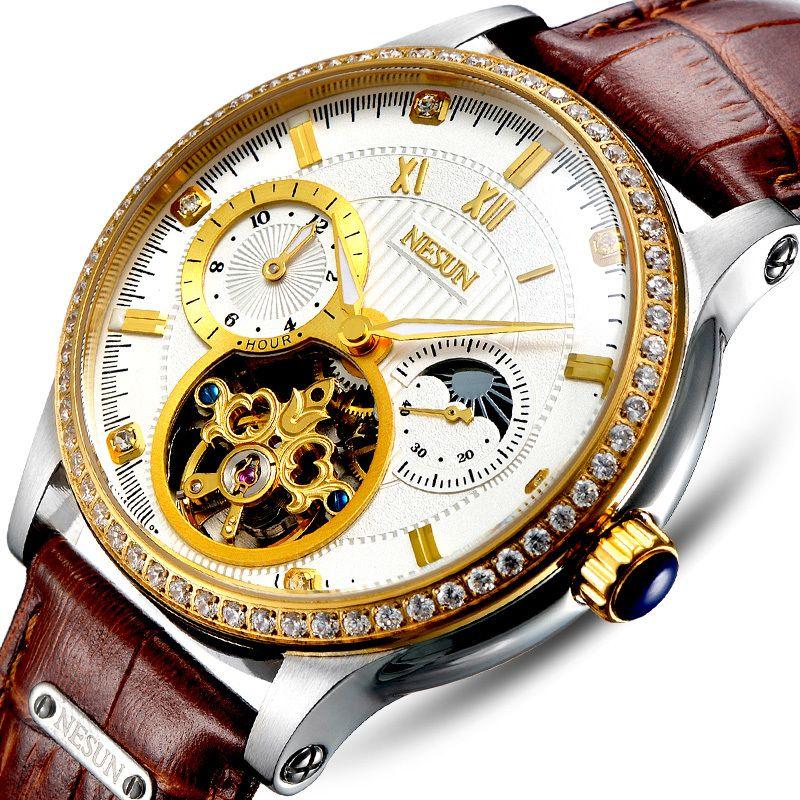 Luxury Brand Switzerland NESUN Skeleton Diamond Watch Men Automatic Self-Wind Men's Watches 100M Waterproof clock N9093-6