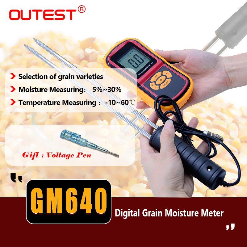LCD Food moisture meter GM640 Grain Moisture Meter for Corn Wheat Rice Bean Temperature Humidity Tester Monitor +Long probe