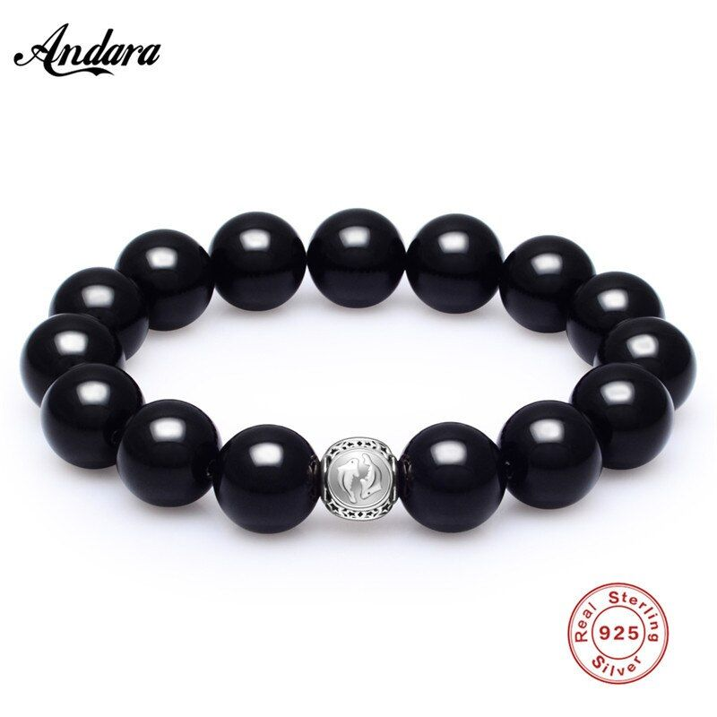 Natural Stone Beads Sterling Silver Pisces Bracelets For Men Male Tiger Eye Casual Jewelry 2017 Black 14mm