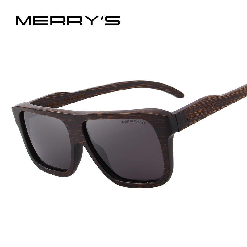 MERRY'S DESIGN Men Wooden Sunglasses Square Polarized Sun Glasses HAND MADE 100% UV Protection S'5066