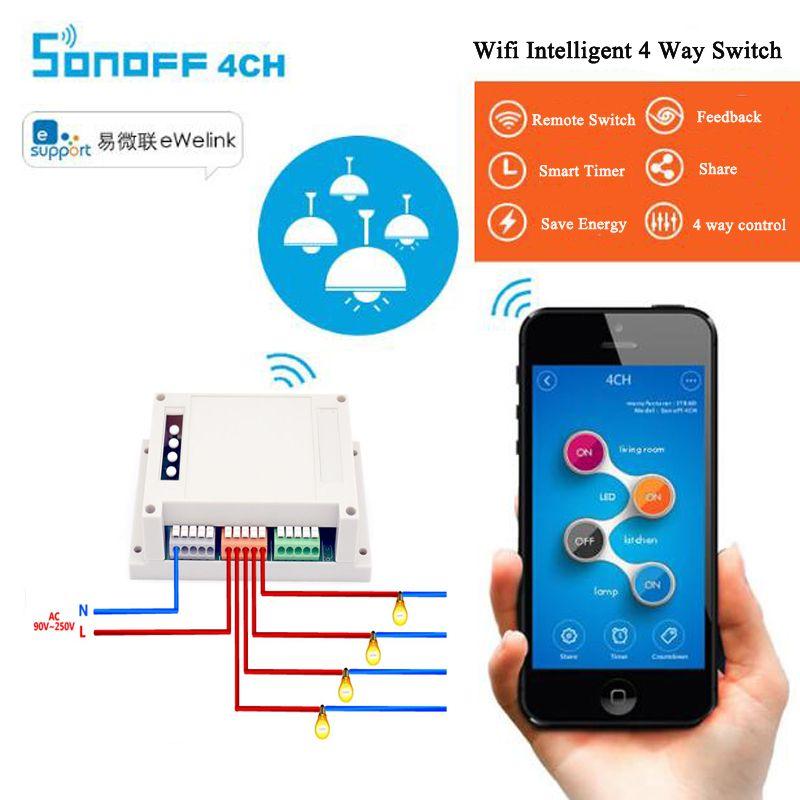 Itead Sonoff 4ch Canal Din Rail De Montage WiFI Smart Switch Domotique Module sur/off Sans Fil Minuterie Commutateur Bricolage 10A/2200 W