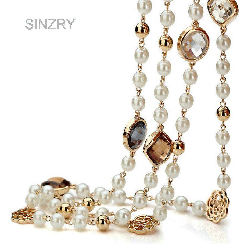 SINZRY Кольцо Кубический циркон роуз цветок имитация перл длинное ожерелье для женщин свитер зимой ожерелье рождественский подарок
