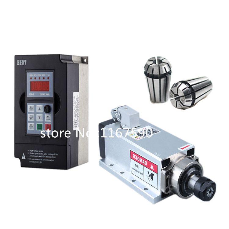 BEST Ceramic Bearings 3.5kw 220V 380V air cooled spindle motor ER20 collect and 4KW VFD inverter
