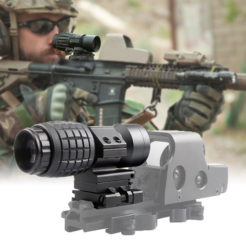 3X Magnifier Scope Compact Tactical Sight with Flip to 20mm Airsoft Rifle Gun Rail Mount 6-0059