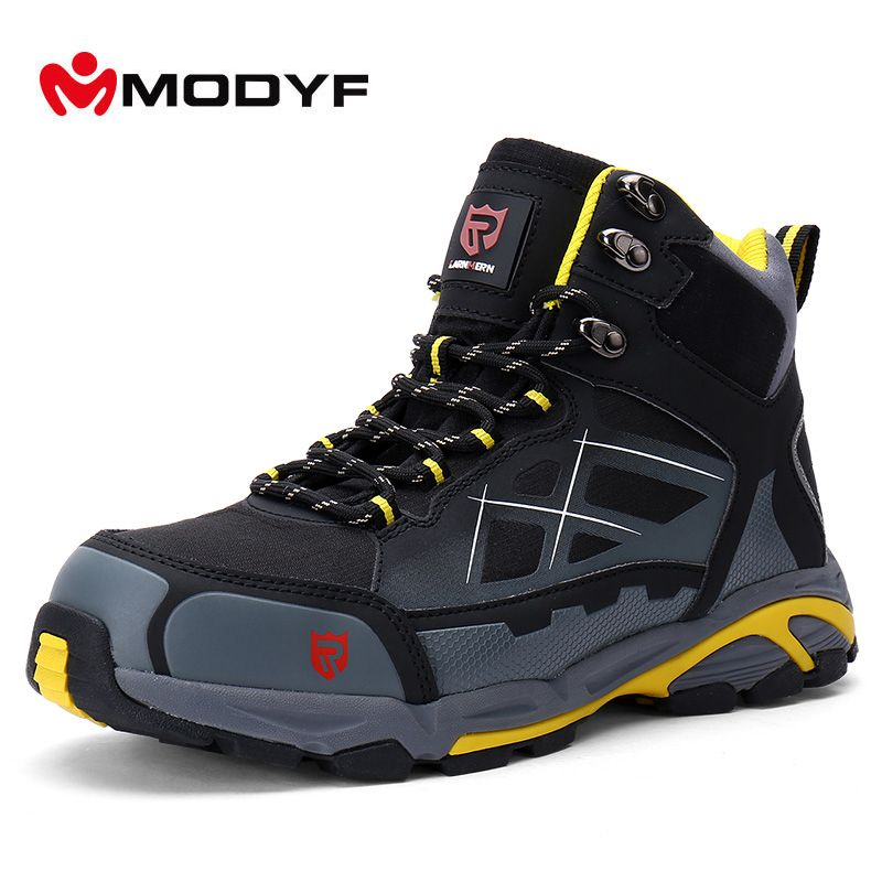 Modyf Men Non-slip Winter Boots Steel Toe Work Safety Shoes KEVLAR Midsole Outdoor Fashion Warm Ankle Protective Footwear