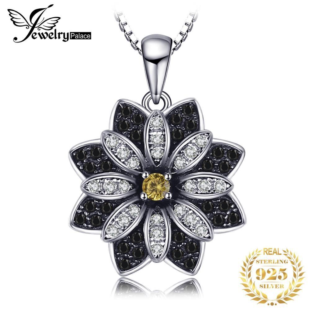 Bijou palace fleur naturel Taupe Quartz fumé noir spinelle pendentif 100% 925 argent Sterling bijoux fins non inclus la chaîne