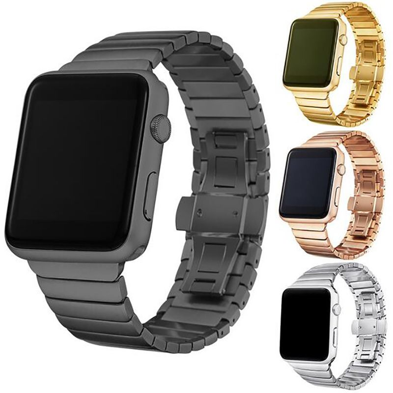 FOHUAS Luxury Stainless Steel link bracelet band for apple watch Series 1 2 band iwatch stainless steel strap 42mm with adapters