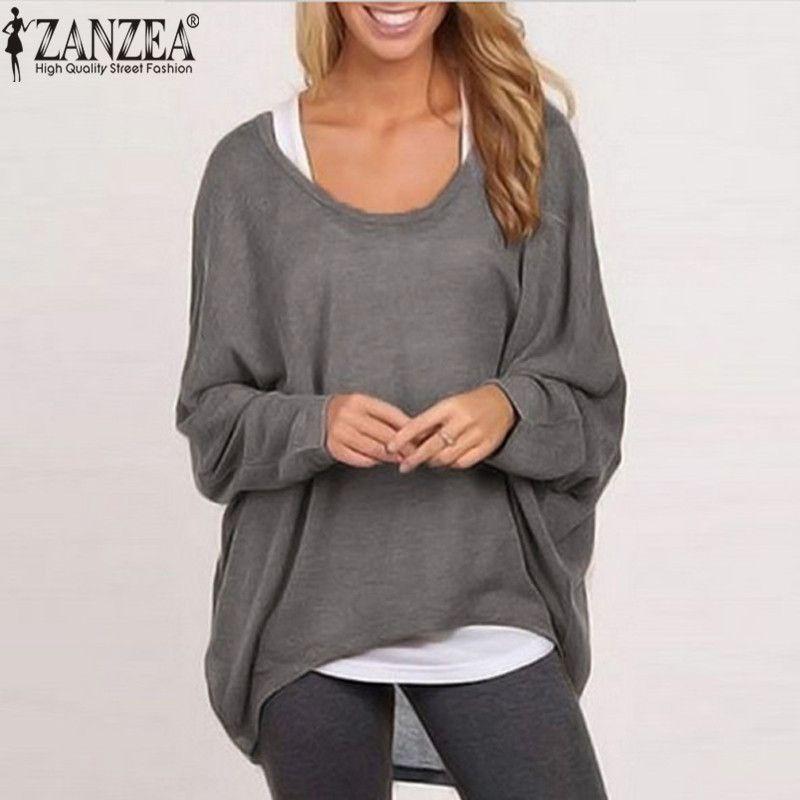ZANZEA 2018 Sexy Tops Femmes Blouse Chauve-Souris À Manches Longues Casual Solide Chemise Plus La Taille Blusa Femininas Suéter Plus La Taille Pull femme