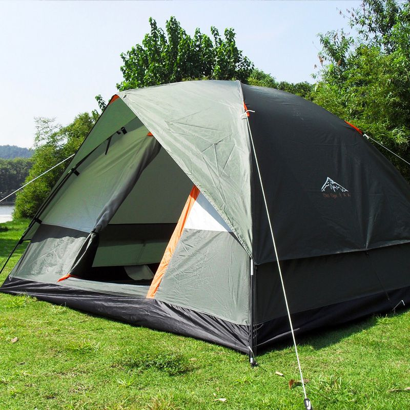 Three Person 200*200*130cm Double Layer Weather Resistant Outdoor Camping <font><b>Tent</b></font> for Fishing, Hunting Adventure and Family Party