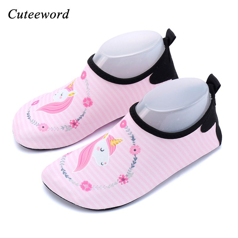 Beach water shoes for children boys and girls cartoon unicorn diving socks snorkeling swimming shoes treadmill yoga soft shoe