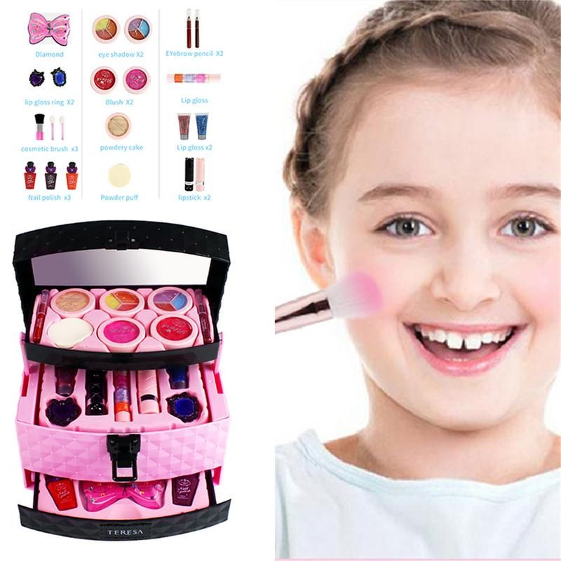 23PCS Pretend Play Toy Children Makeup Set Hairdressing Make Up Kid Girls Simulation Toy Plastic Toy Dressing Make Up Travel Box