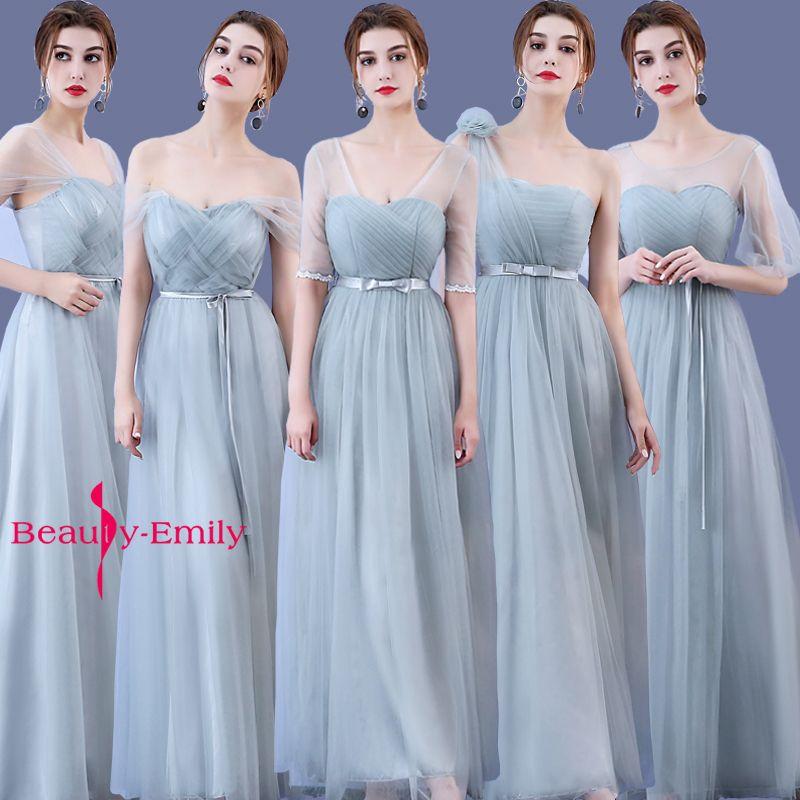 2017 vente Chaude Tulle Gris Sans Manches Longues Robes de mariée Ruches de Mousseline de Soie a-ligne Robe De Madrinha De Casamento Longo