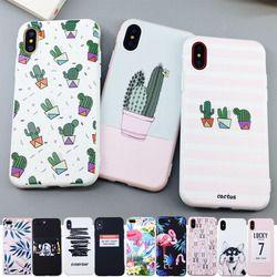 Yikelo Candy color Art caja del teléfono de la impresión de la hoja para el iPhone 6x6 S 7 8 más cactus moda cubierta de goma suave del silicio de TPU capa