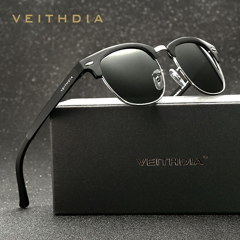 VEITHDIA Retro Unisex <font><b>Aluminum</b></font> Magnesium Mens Sunglasses Polarized Vintage Eyewear Accessories Sun Glasses For Men Women 6690