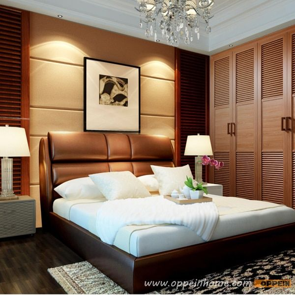 OPPEIN Hot Sell Cherry Wood Bed  / soft bed/double bed king/queen size bedroom home furniture hot sale style OP-SH686