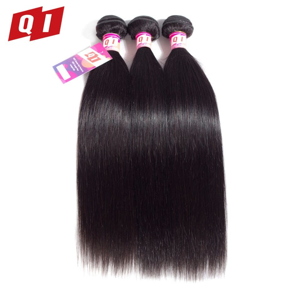 QI Hair 3 Piece/Lot Natural Color Malaysian Straight 100% Human Hair Weaves 3 Bundles Hair Extensions Non Remy Hair