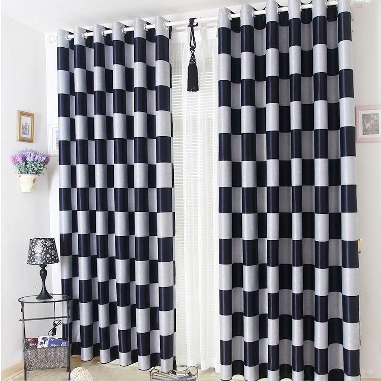 Bref gris clair et noir café Plaid occultant/transparent fenêtre rideaux pour salon chambre rideaux rideaux Cortinas para