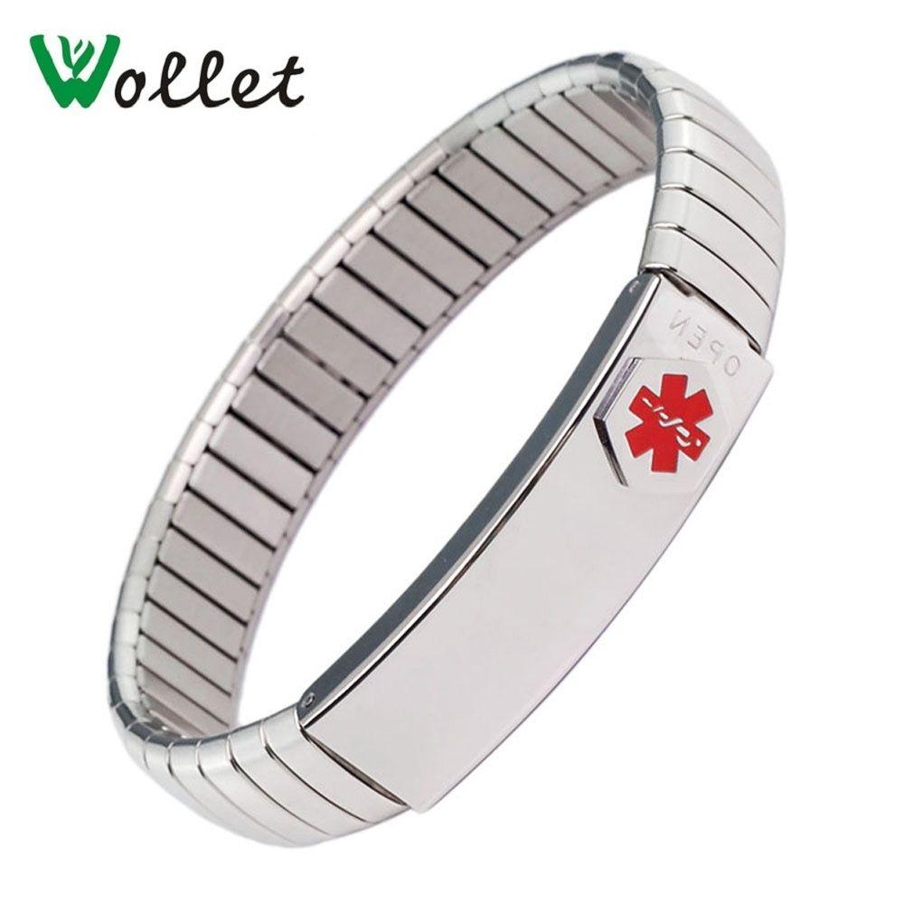 Wollet bijoux ID Bracelet élastique en acier inoxydable Bracelet d'alerte médicale pour hommes femmes personnalisé carte médicale personnalisée