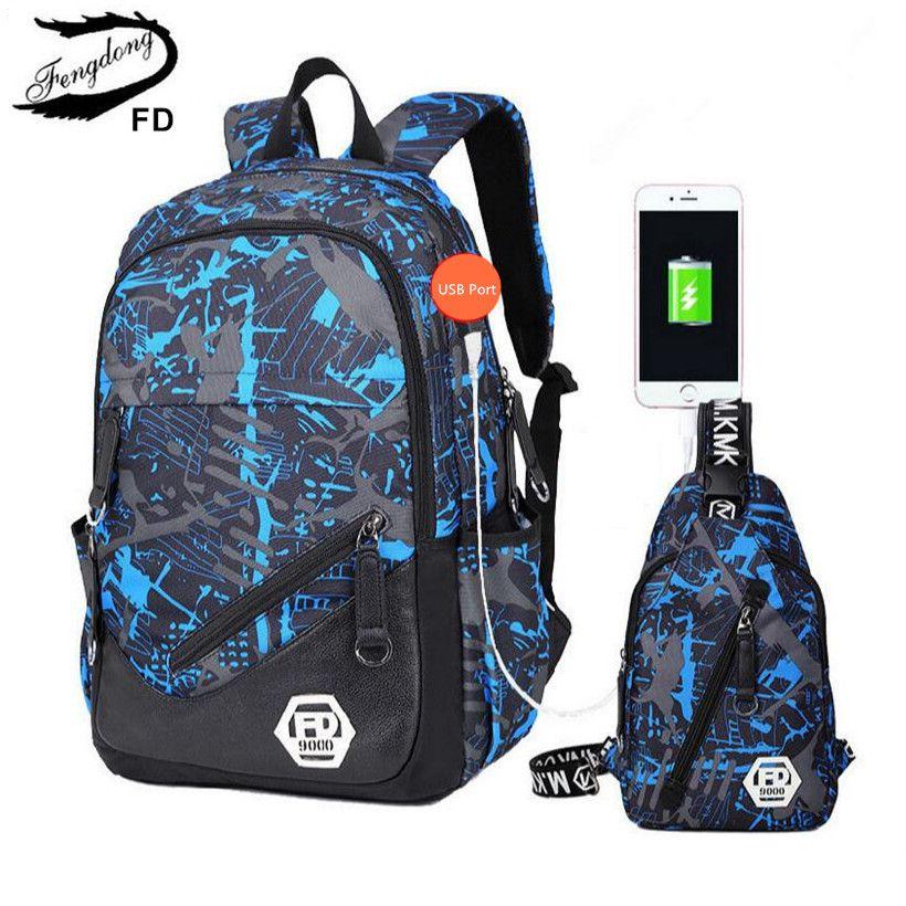 Fengdong Blue Внешний USB зарядки Мужчины Путешествия Рюкзак мужской ноутбук сумка 15.6 колледж сумки школьные рюкзаки для мальчиков спортивные