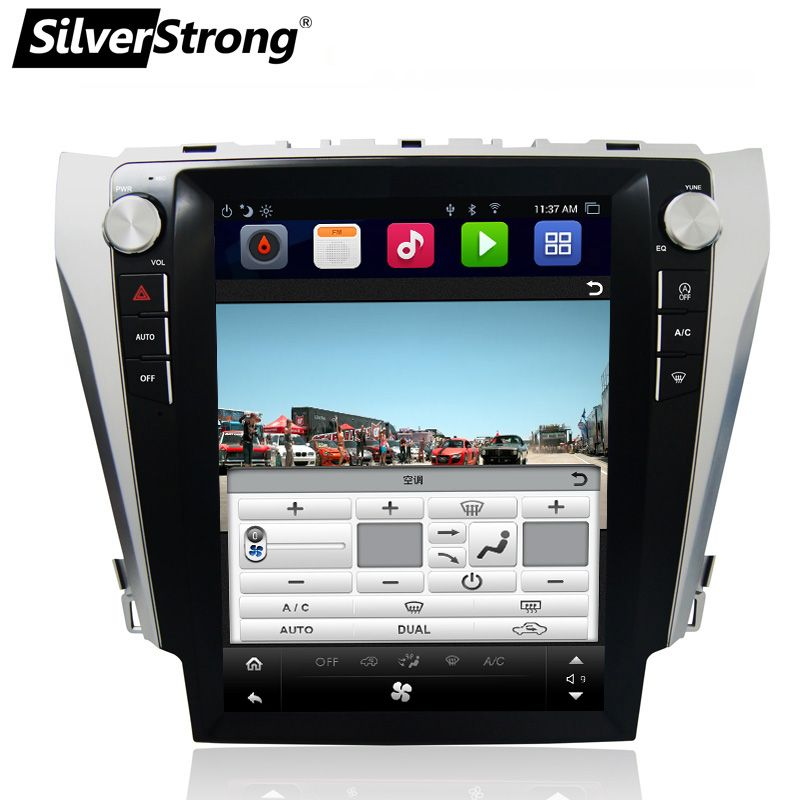 SilverStrong 12.1'' IPS Screen Android7.1 32GB Tesla Screen Car GPS For Toyota Camry 2012-2015 support JBL amp AC climate