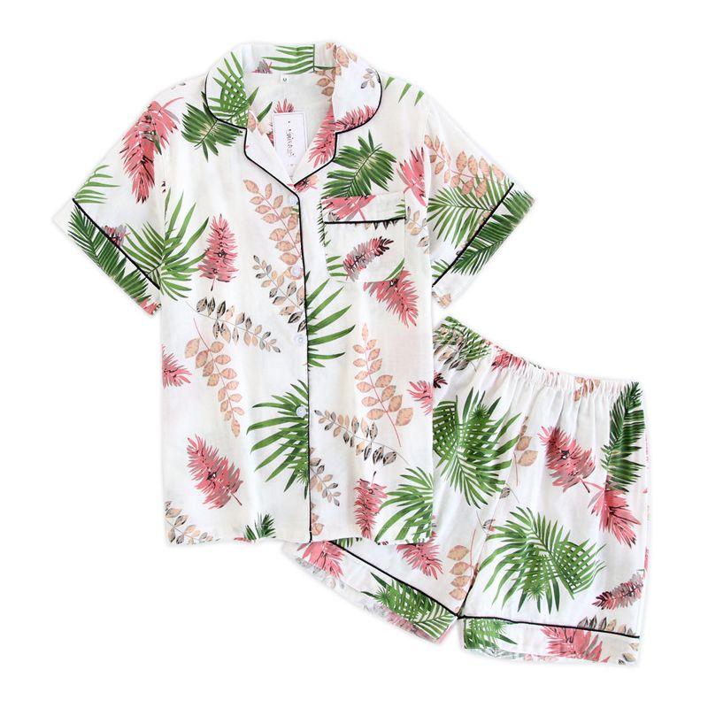 Japonais simple court pyjamas femmes 100% coton manches courtes dames pyjama ensembles shorts mignon vêtements de nuit de dessin animé femmes homewear