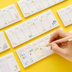 Kawaii Cute Weekly Plan Paper Scrapbooking Stickers Sticky Note Stationery School Supplies Memo Pad Papelaria Notebook Notepad