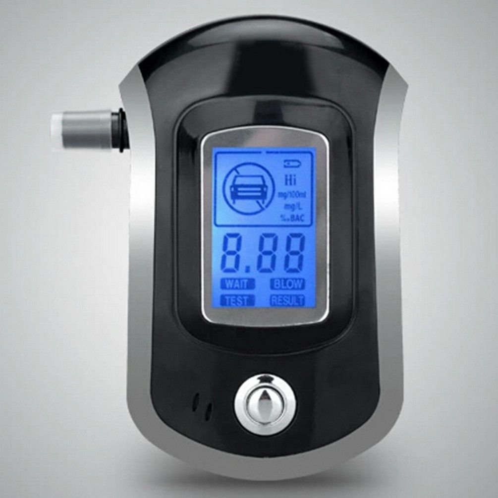 Professional Digital Breath Alcohol Tester Breathalyzer with LCD Dispaly with 5 Mouthpieces Police Alcohol Parking Breathalyser