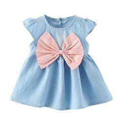 2017 new design style baby mini children summer wear short sleeved dress fashion party baby toddler girl pure Minnie cuff