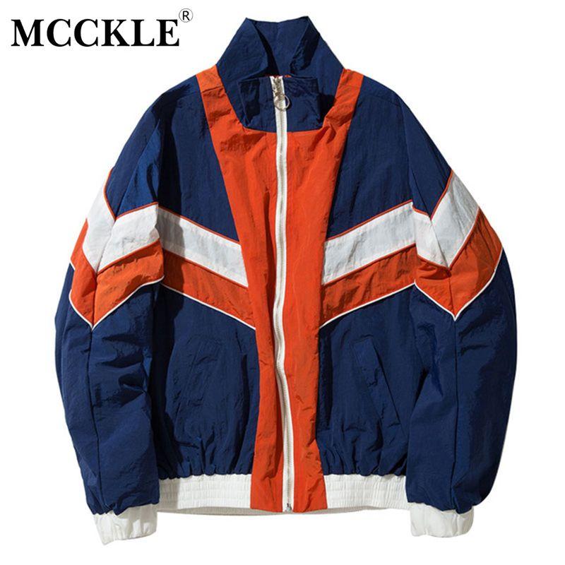 MCCKLE Vintage Multicolor Color Block Patchwork Windbreaker Jackets 2017 Autumn Hip Hop Streetwear Zip Up Track Casual Jackets