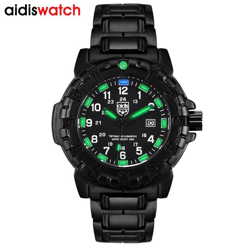 AIDIS top marque hommes sport montres décontracté brillant quartz étanche en plein air militaire boussole alliage montre hommes horloge reloj hombre