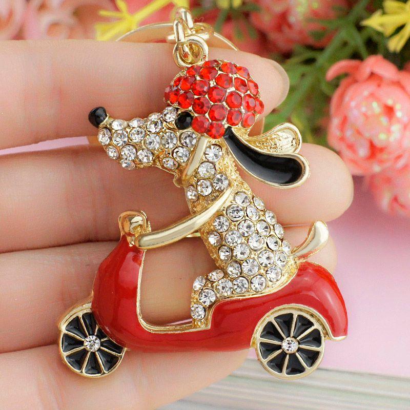 Dormon милая собака Мотоцикл Байкер кристалл металла животных для Для женщин сумка подвеска брелок держатель для автомобиля dk183