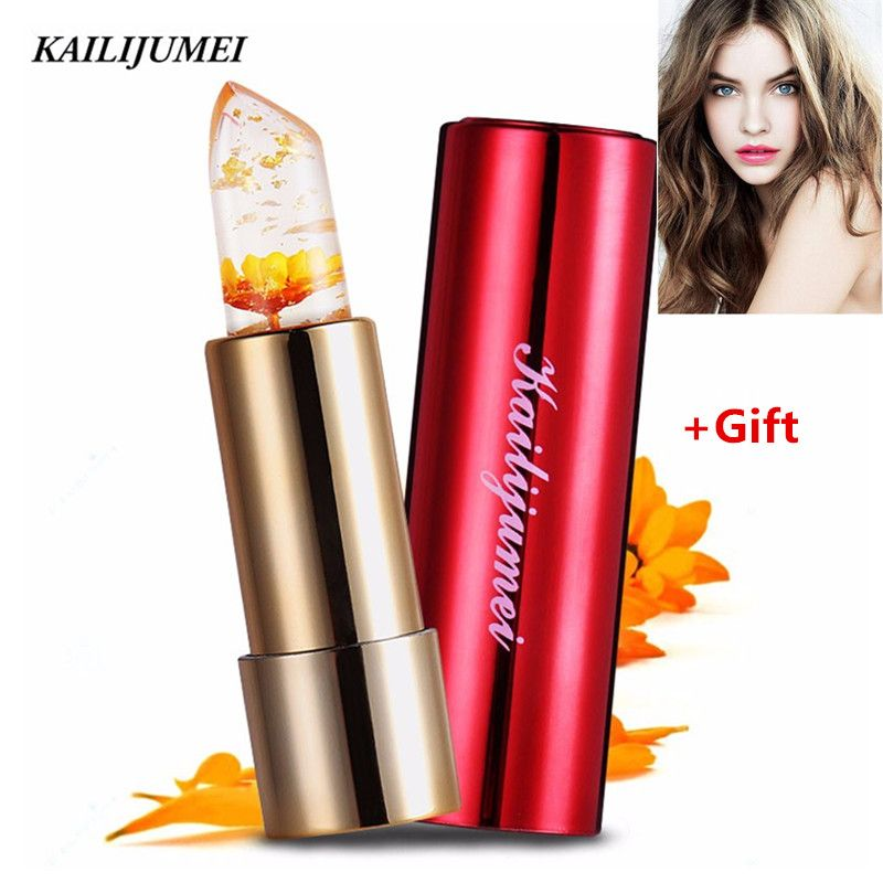 Brand Kailijumei Flower Jelly Lipstick Magic Color Temperature Change Lip Gloss Moisturizer Flower Lip balm Make up Lipstick