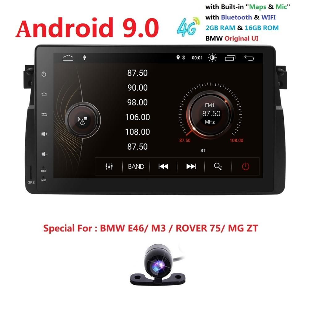 Autoradio 9 écran Android 9 pour BMW E46 M3 318i 320i 325i avec MirrorLink pas de DVD stéréo multimédia automatique Navi RDS DVR SWC BT SD