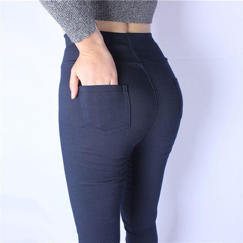 2018 Nouveau Sexy Maigre Plus La Taille Leggings Femmes Legging Poche Solide Taille Haute Élastique Cheville-Longueur Crayon Pantalon Noir bleu Blanc