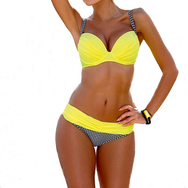 Bikins Frauen 2017 Plus Size Swimwear Frauen Drücken oben Aufgefülltes Top Low Taillierte Bottom Badeanzug Biquini