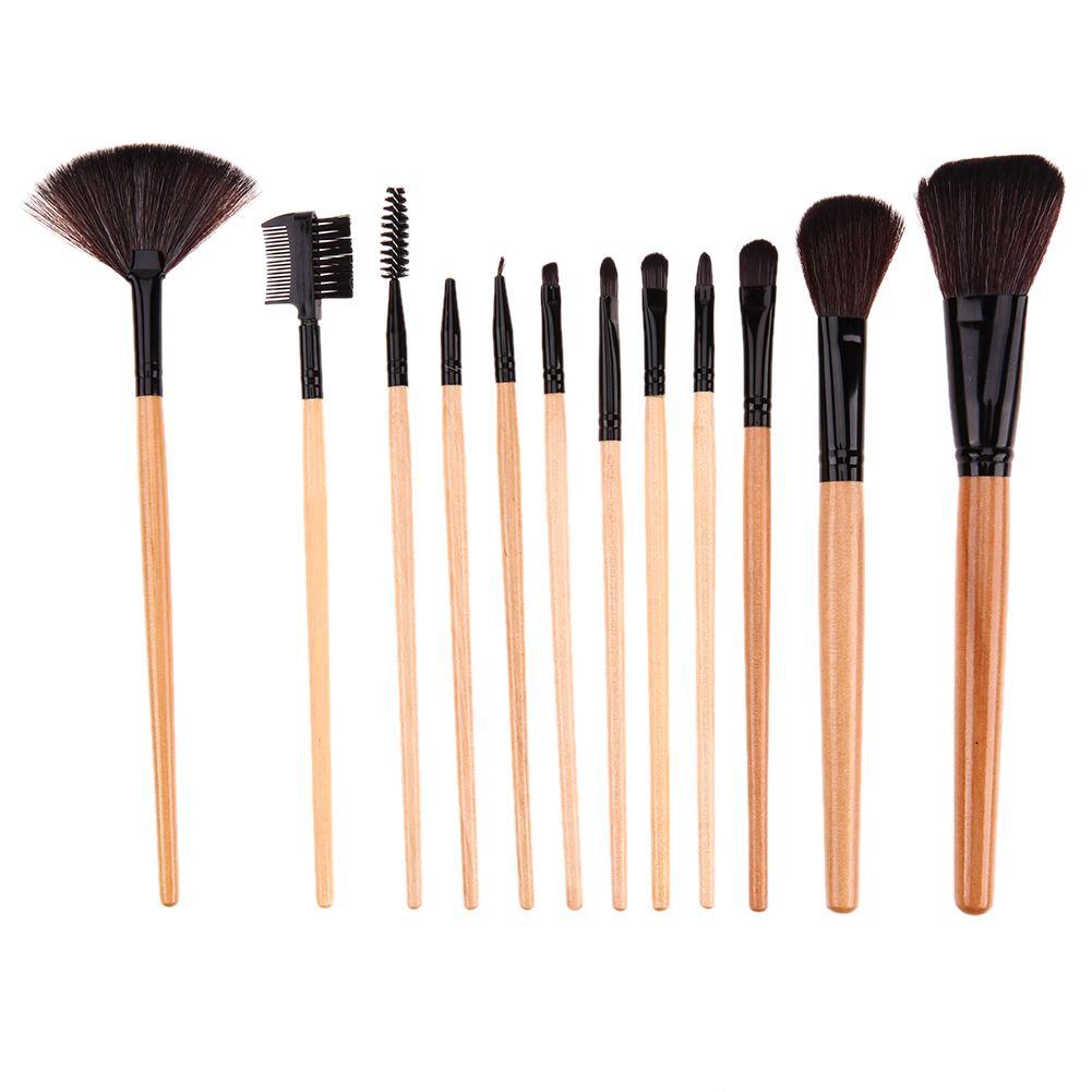 12pcs/set Professional Make up Brushes Set Cosmetic Foundation Powder Blush Eyeliner Brush Wooden Handle Makeup Brushes +Bag