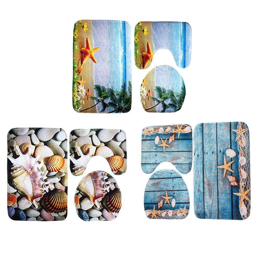 3pcs/set Seascape Bathroom Carpet Set Ocean Underwater World Pattern Anti Slip Pedestal Rug Lid Toilet Cover Bath Mat