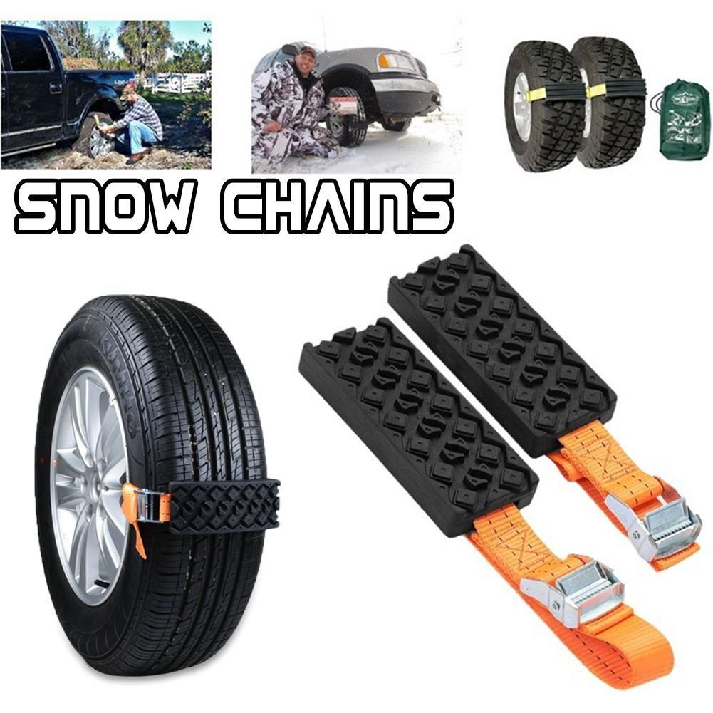 2PCS Anti-Skid Chain Car Snow Chains Rubber Nylon Snow Mud Chain Saloon Car Tire Emergency Anti Skid Strap for Snow Ice Road