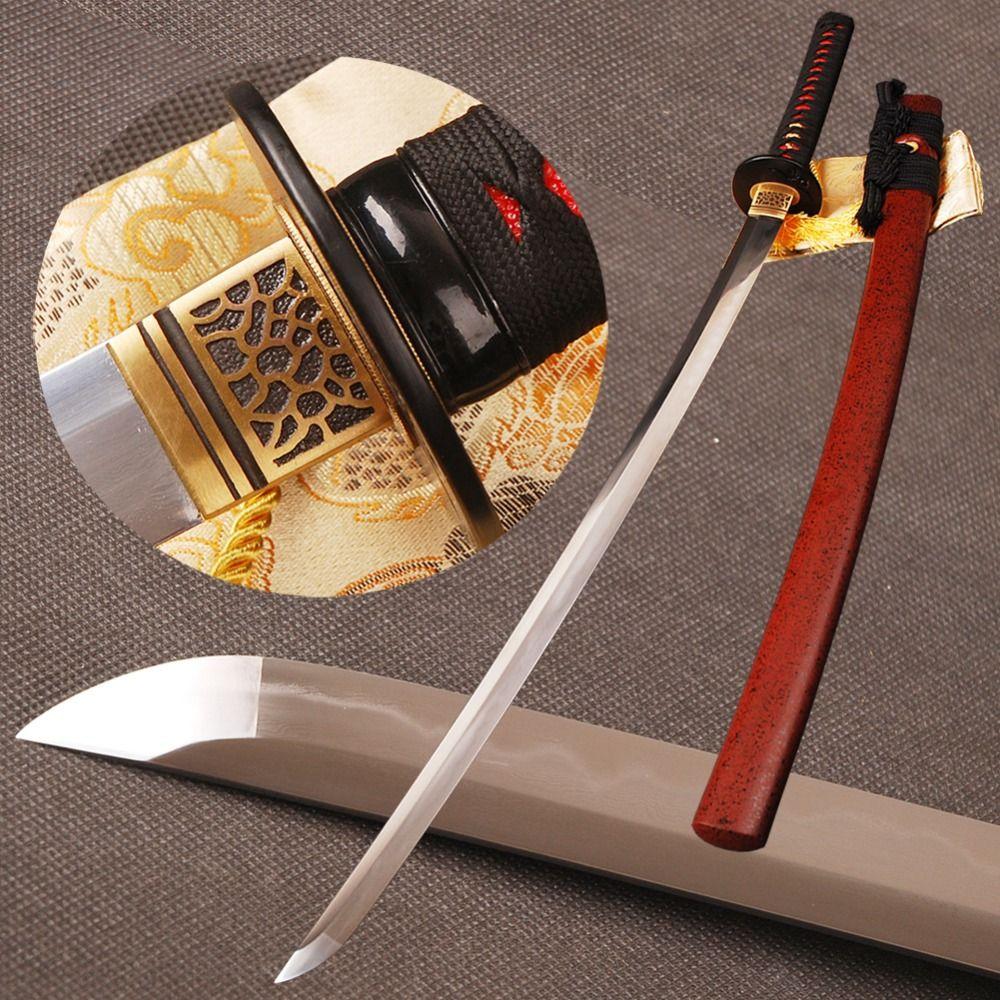 Folded Steel Clay Tempered Samurai Sword Katana Full Tang 32768 Layers hamon Blade Handmade Sharp Japanese Espada Can Cut Bamboo