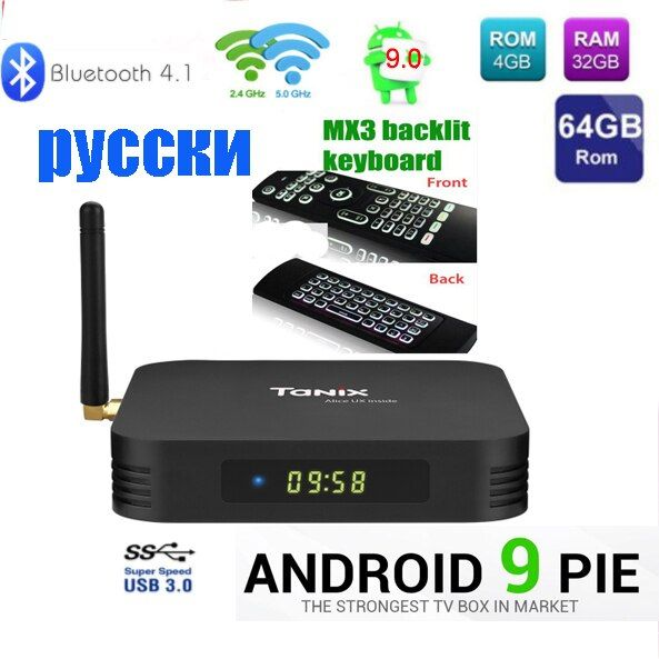 Tanix TX6 TV Box android 9 Allwinner H6 4 GB DDR3 32 GB/64 GB MEM 2.4 GHz 5 GHz WiFi BT4.1 Soutien 4 K H.265 Bluetooth 4.0 WIFI