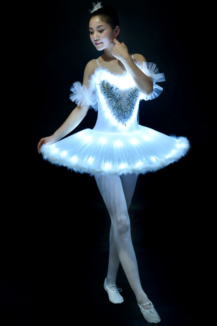 Girls Ballet Tutu Dress Lighting Dancing Suit Luminous Dances Fluorescent Adult Swan Lake Dancing Performance Costumes D-0320