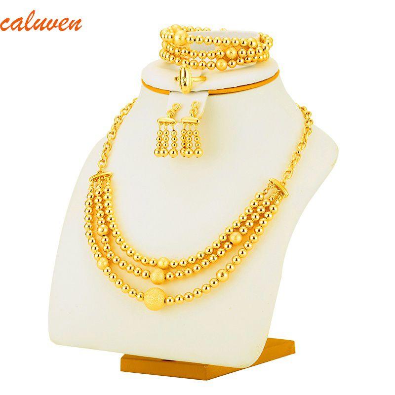 Bon timbre perle collier boucles d'oreilles Bracelet ensemble bijoux balle pour femmes couleur or afrique/arabe/moyen-orient/éthiopien