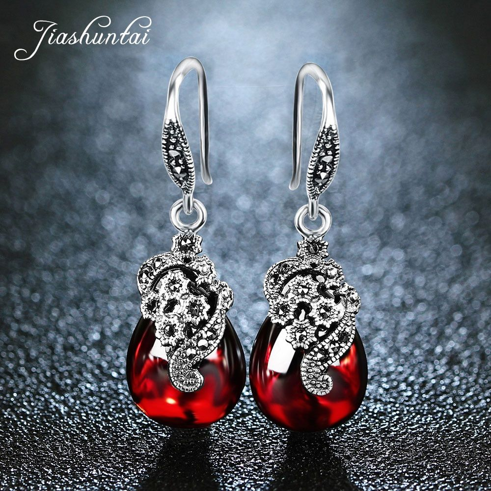 JIASHUNTAI Silver 925 Earrings for Women Vintage Dangle Earrings 100% 925 Sterling Silver Jewelry Female Natural Stone