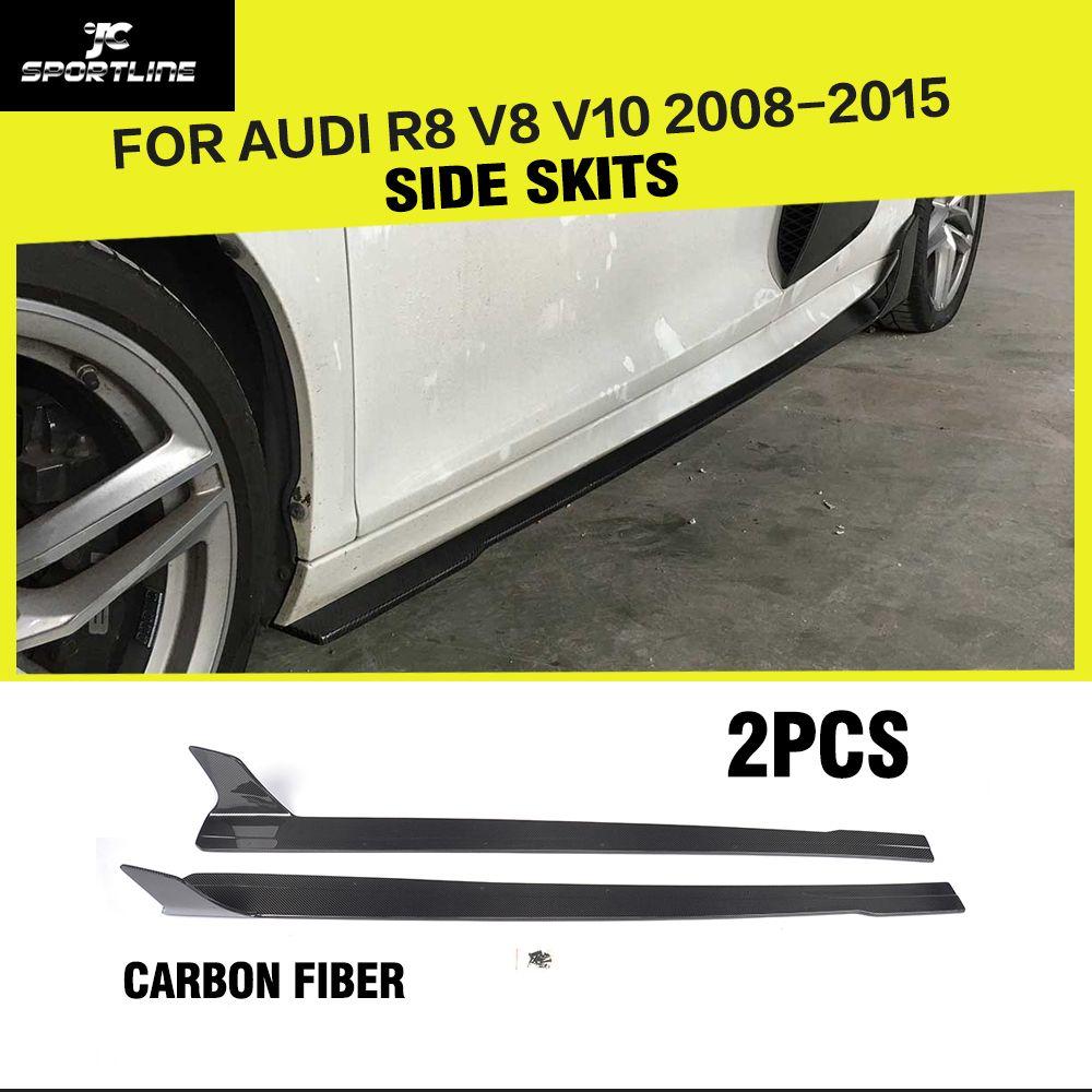 Auto-Styling Carbon Fiber Racing Tür Seite Röcke Verlängerung Lip Body Schürzen für Audi R8 V8 V10 2008- 2015
