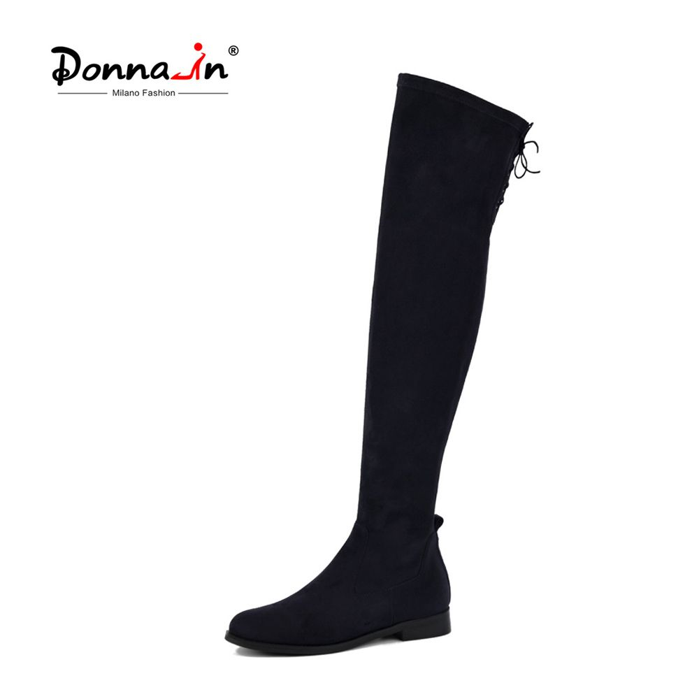 Donna-in fashion high boots above knee women black stretch sock booties round toe low heel thigh high boots lace-up ladies shoes
