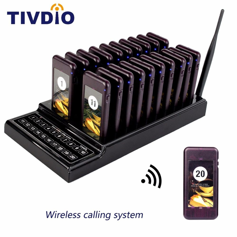 TIVDIO T-111 Wireless Paging Queuing System 20 Call Coaster Pager+1 Transmitter Battery Restaurant Pager Equipment F9401