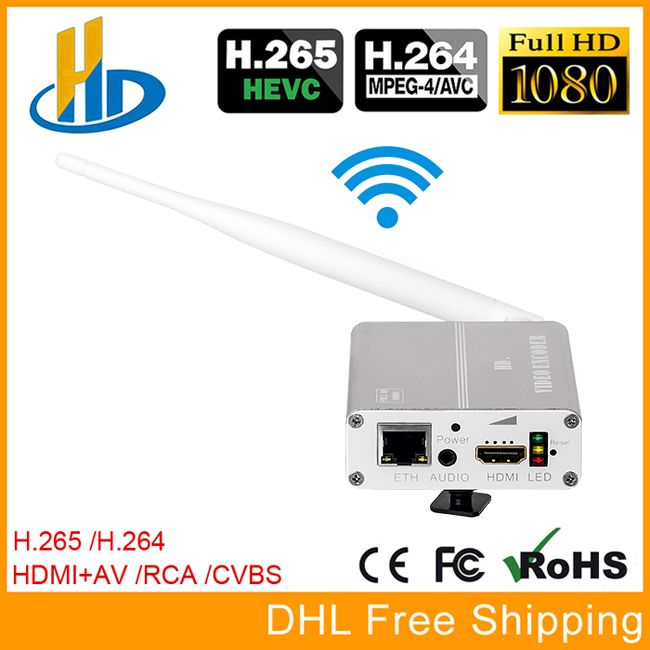 URay HEVC H.265 H264 Wireless HDMI + CVBS AV Video Streaming Encoder IPTV Encoder HD + SD Video Live Encoder WiFi With PAL NTSC