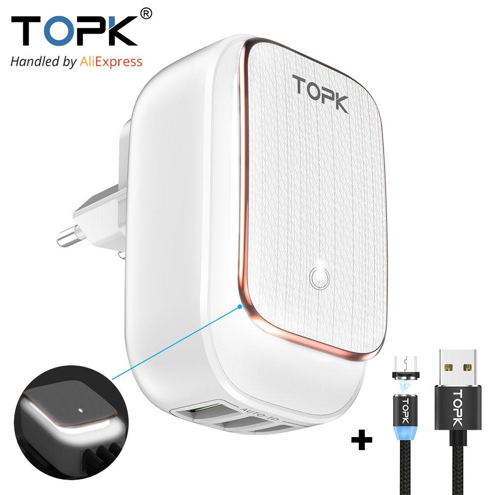 TOPK Multi-Port USB Charger LED Lamp Auto-ID Mobile Phone Charger Portable Tarvel EU&US Plug Wall Charger Adapter
