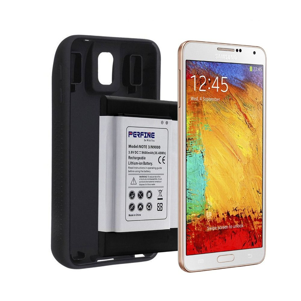 B800BE 9600mAh Note3 Battery For Samsung Galaxy Note 3 N9000 N9005 Mobile Phone NFC Business Extended Batteria+Protective Case