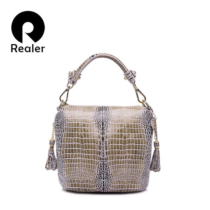 REALER brand <font><b>genuine</b></font> leather handbag women small tote bag tassel shoulder bags female serpentine pattern leather bucket bag